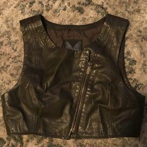 Bebe Design Lab XS Brown Leather Crop Top Moto